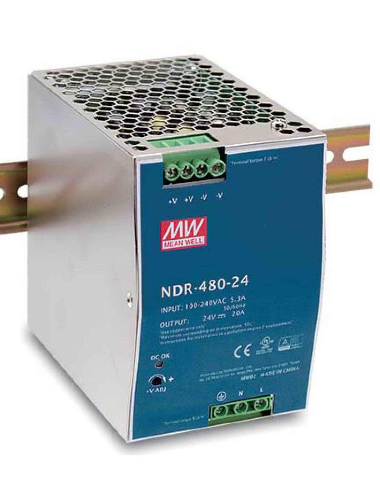NDR-480, منبع تغذیه ریلی مینول 480 وات, NDR-480-24, منبع تغذیه ریلی مین ول 24 ولت 20 آمپر, Mean Well