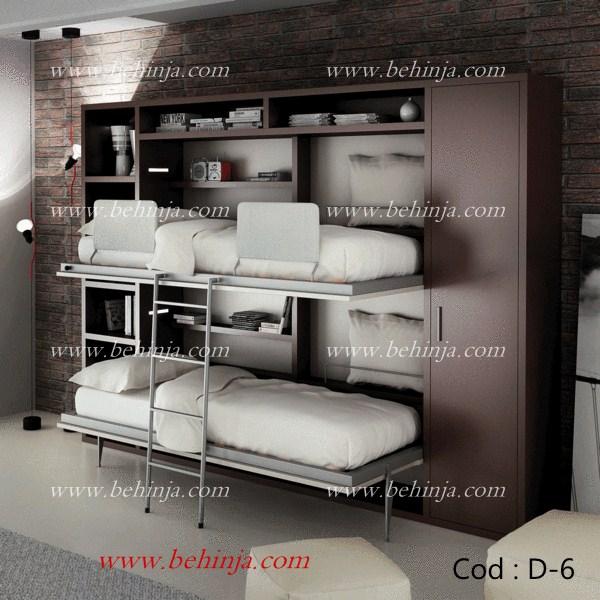 تخت خواب دوطبقه تاشو|تخت دوطبقه دیواری کمجا|بهینجا|09126183871