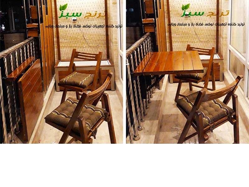 میز تاشو  و میز تاشو دیواری برای تراس سبز