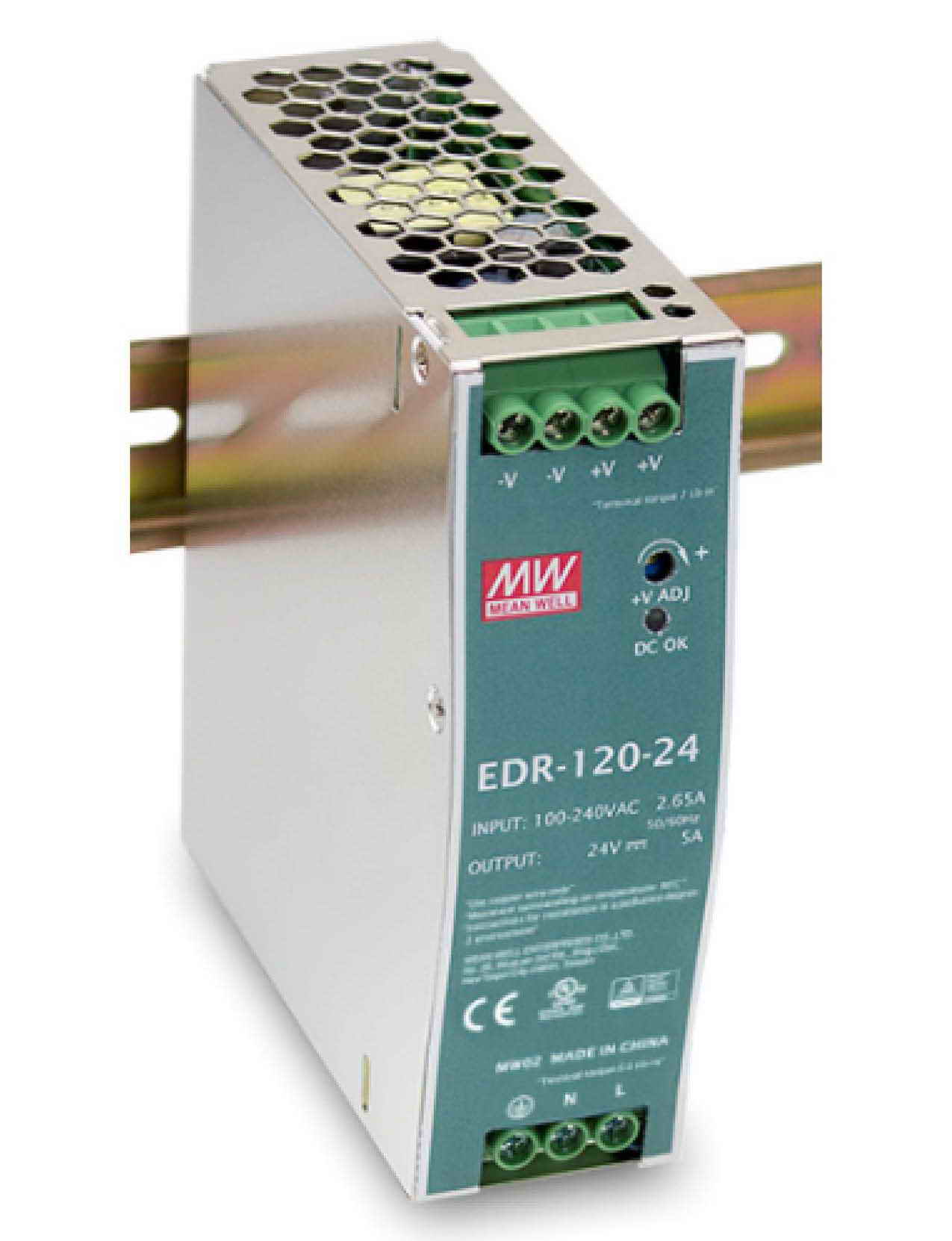 EDR-120, منبع تغذیه ریلی مینول 120 وات, Mean Well , EDR-120-24, MW, EDR-120-48 , EDR-120-12